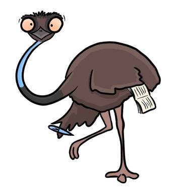 Cartoon of Emu representing me,  a professional freelance copywriter