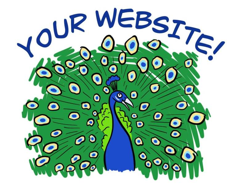 Cartoon of peacock representing website showing off