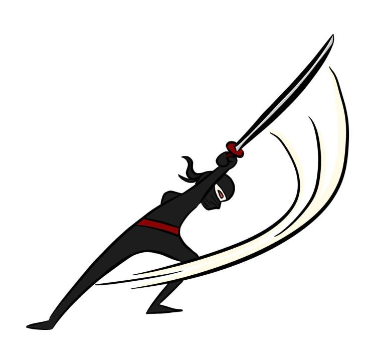 Cartoon of ninja slashing a sword
