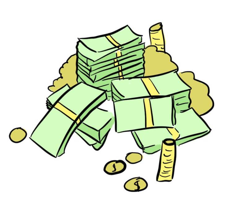 Cartoon of a stack of money