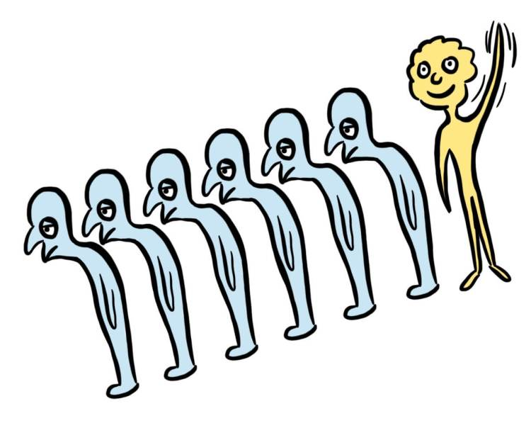 Cartoon of business standing out from the crowd