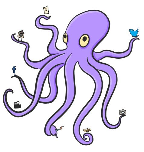 Cartoon of octopus using multiple types of content marketing. Variety is the spice of life