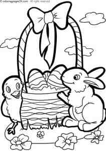 Free Printable easter basket, bunny, egg and chick coloring page