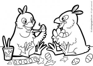 free printable easter eggs and chicks coloring page, sheet