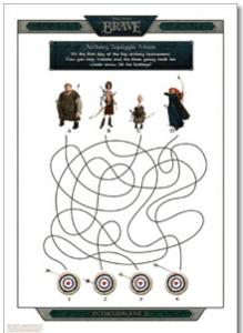 Free Printable Disney's BRAVE Activity Sheets