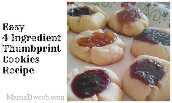4 ingredient thumbprint cookies