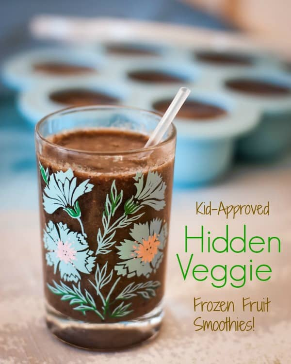 Hidden veggies in frozen fruit smoothies