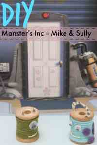 DIY Monster's Inc.  Sully & Mike Craft – from spools of thread! #DisneySide