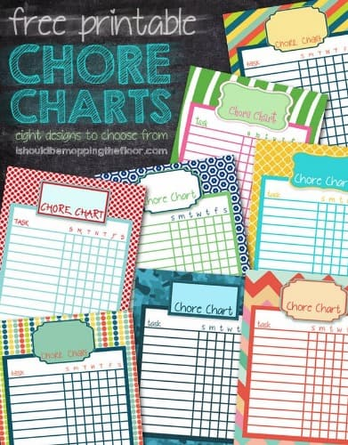 Eight free printable chore charts