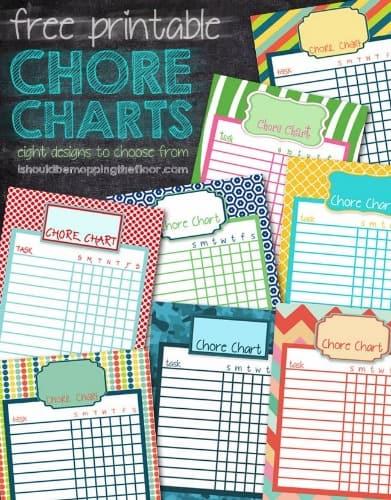 Eight free printable chore charts