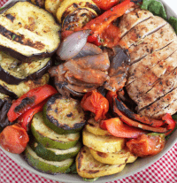 Grilled Chicken & Veggies with Tomato Vinegrette