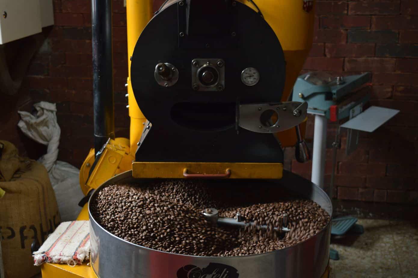 A Coffee Roaster Roasting Coffee Beans
