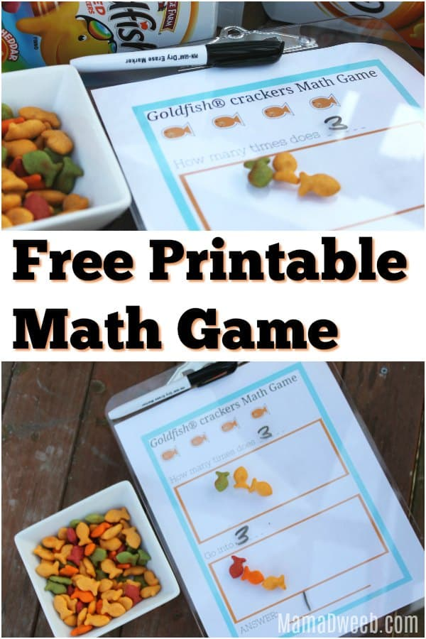 Free Printable Math Game With Goldfish Crackers - Easy & Portable Too!