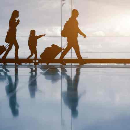 family travel in the airport
