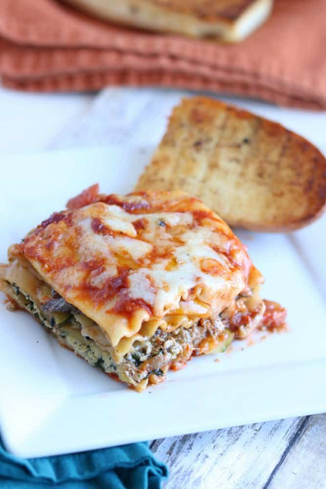 Vegetable Lasagna and Garlic Bread