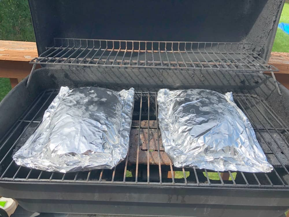 Foil wrapped BBQ Meatloaf on the Grill