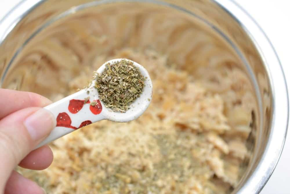 Keto chicken crust ingredients in a mixing bowl
