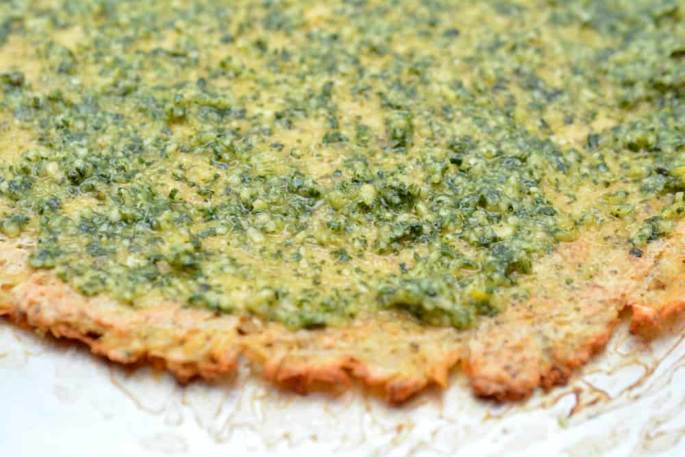 Keto Chicken Crust Pizza with Pesto