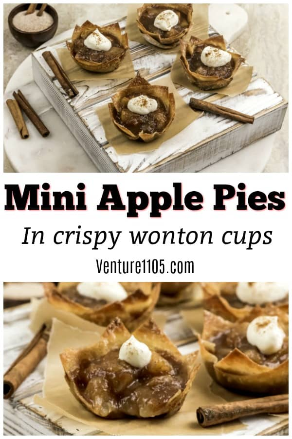 Mini Apple Pies in Crispy Wonton Cups