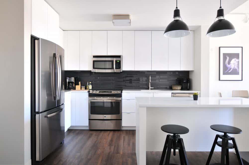 Kitchen with refrigerator