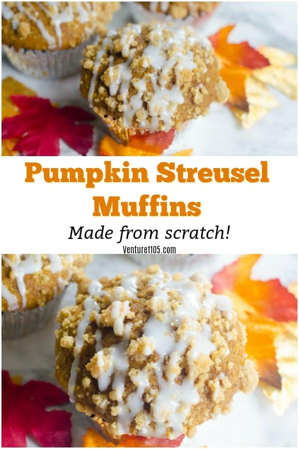 Simple Pumpkin Streusel Muffins. Made with real pumpkin and all ingredients from scratch!