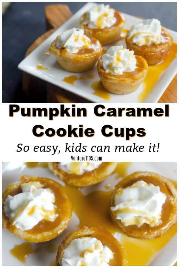 Pumpkin Caramel Cookie Cups - Easy Dessert Kids Can Make