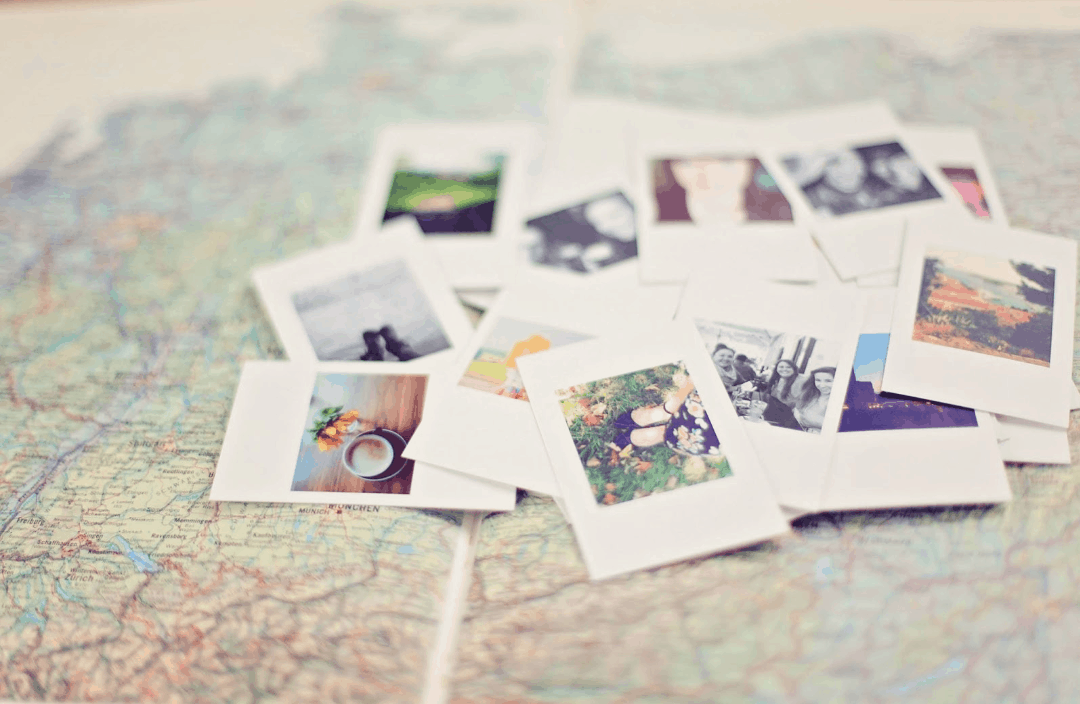 Pictures laying on a map