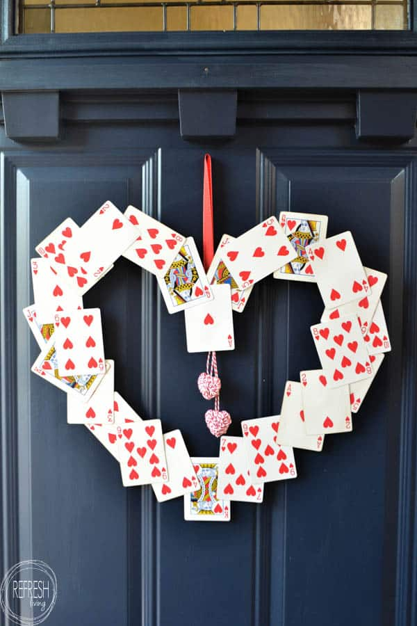Heart Wreath decorated with red playing cards