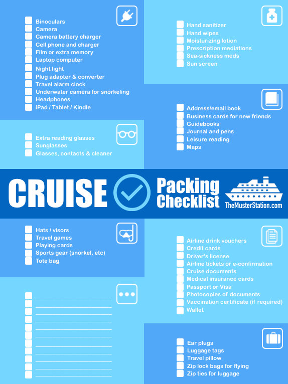 Blue and White Cruse Packing Checklist from Muster Station