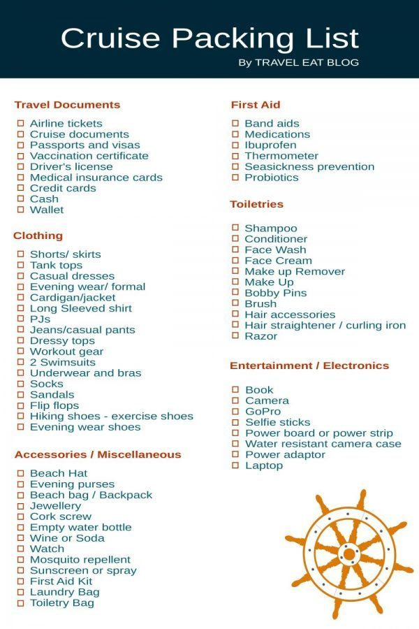 Free Printable Cruise Packing list from Travel Eat Blog.