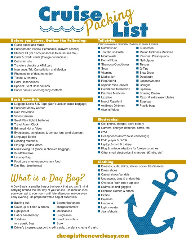 Printable Cruise Packing List from Cheap is the New Classy