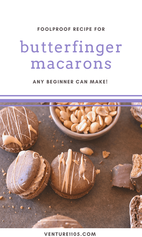 How to make sweet Butterfinger macarons that melt in your mouth. #Baking #Macarons