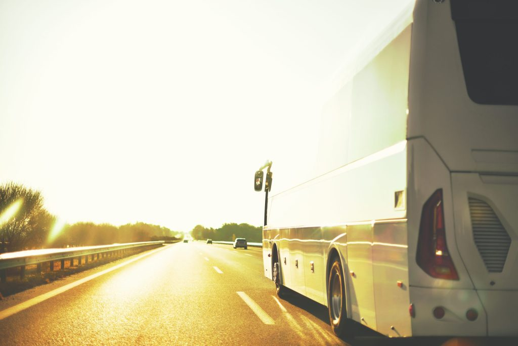 Charter bus on the highway