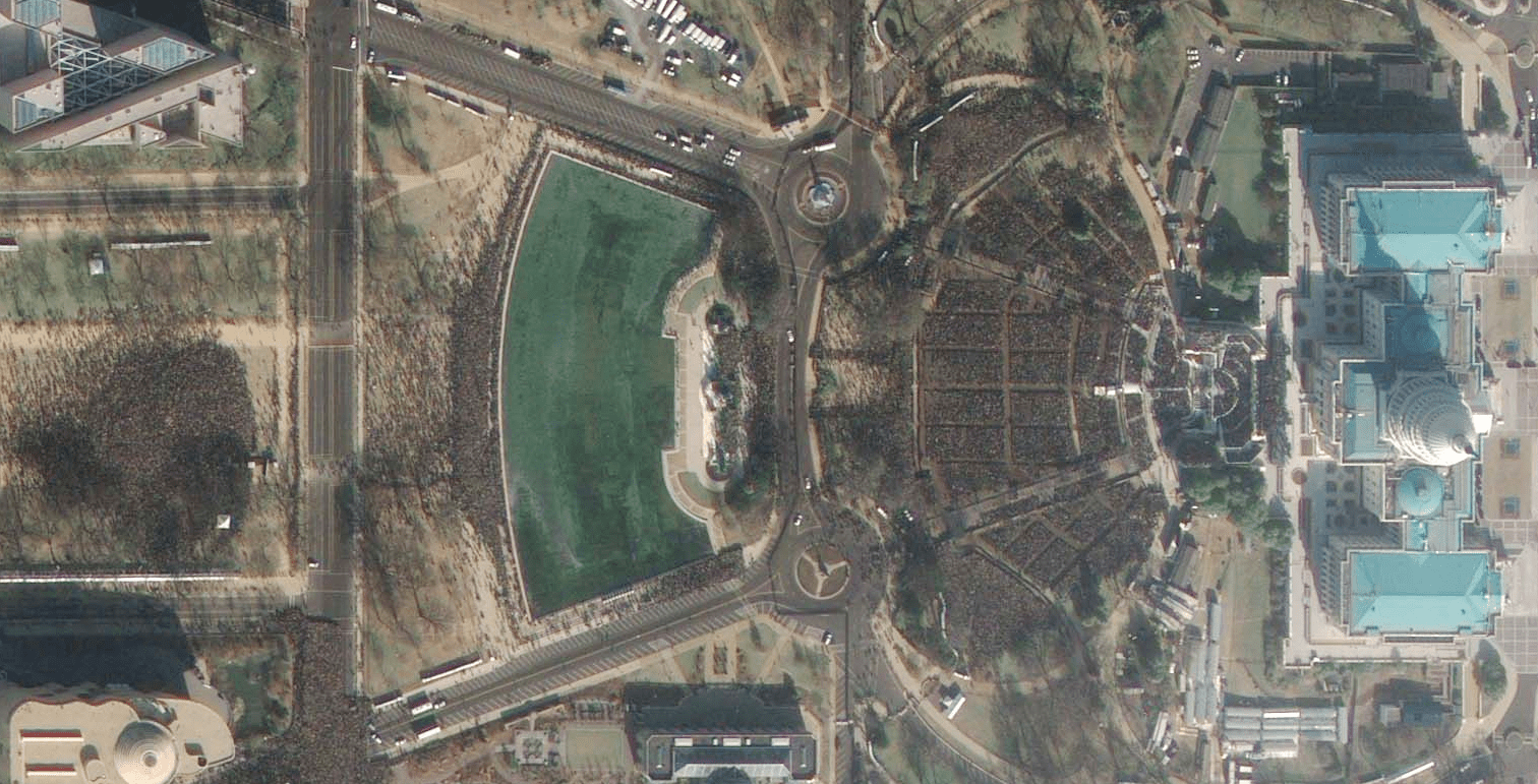 GeoEye-1 image of the inauguration.
