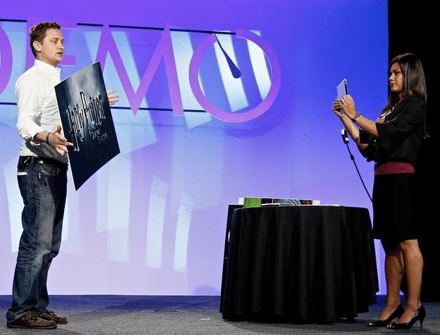 Aurasma demonstrates its augmented reality app on the iPad