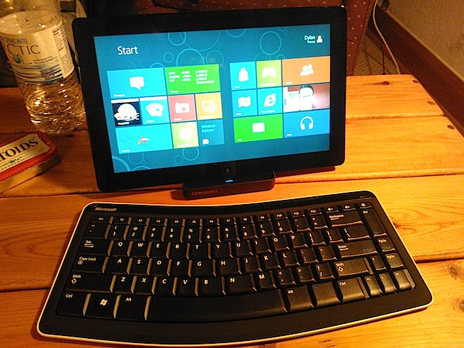 Photo of a Windows 8 tablet with a keyboard