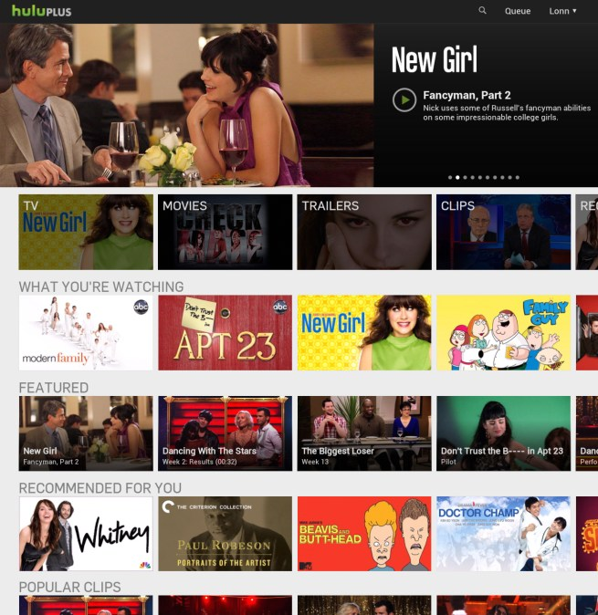 Hulu Android Homepage