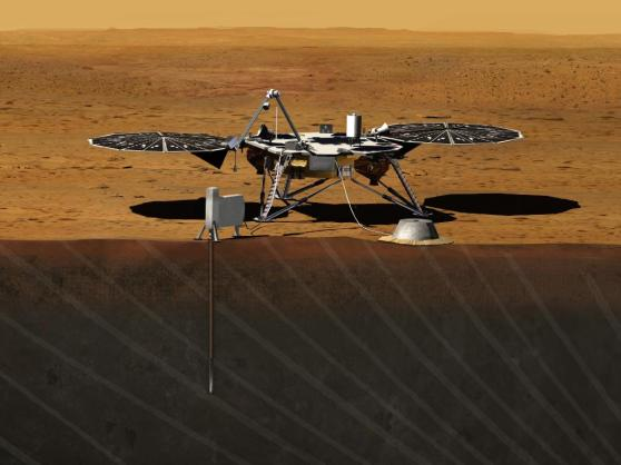 Artist's Rendition of Mars InSight lander, via NASA