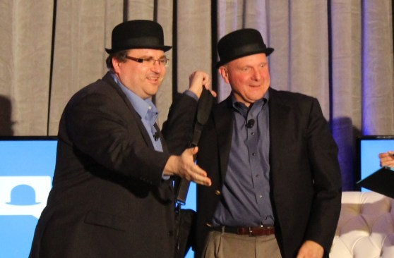 Reid Hoffman and Steve Ballmer in bowler hats