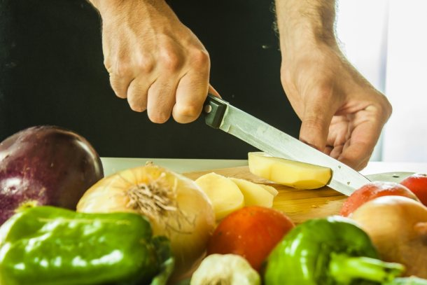 healthy food cutting vegetables