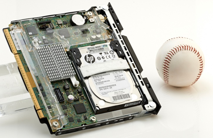 HP Moonshot server with baseball