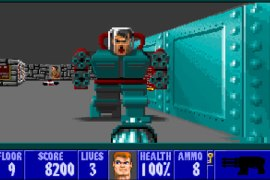 Though depicted here with four, the exact number of chainguns on Hitler's mech-suit remains a historical debate.