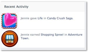 Linked in-feed, Facebook Candy Crush