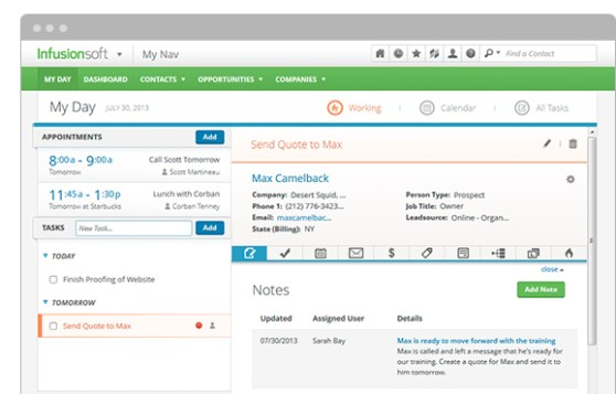 Infusionsoft can be your marketing calendar, too