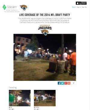 The designated website that Jaguars management team can push live video streams for everyone to see.