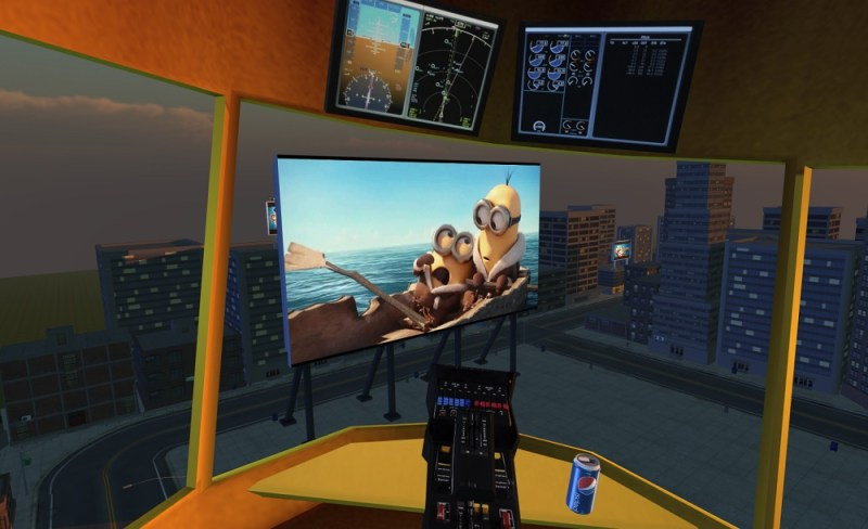 MediaSpike view from inside a 3D blimp in virtual reality.