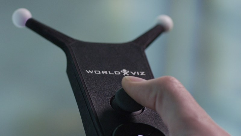 WorldViz uses handheld sensors for gesture control in VR.