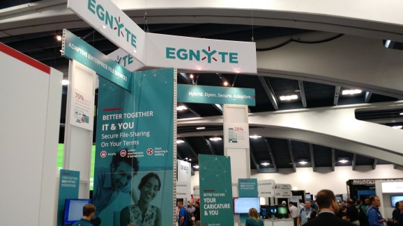 The Egnyte booth at VMware's 2015 VMworld conference in San Francisco on Aug. 31.
