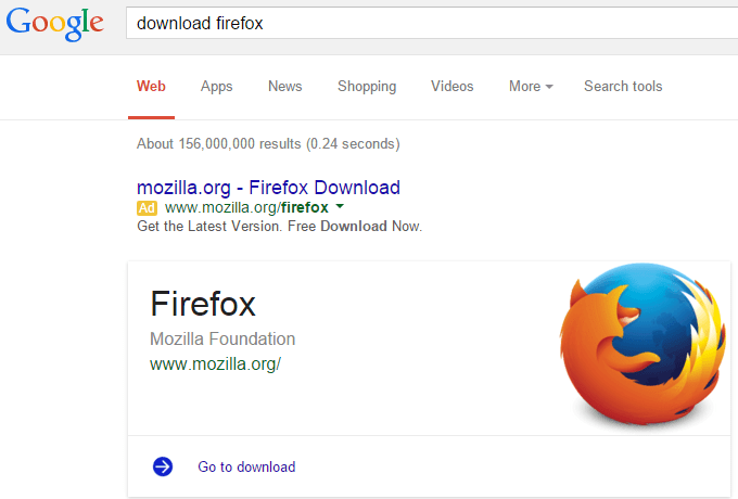 Google search now shows cards with official software download links
