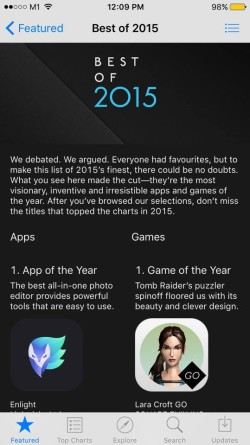 Enlight and Lara Croft GO win Apple's 'Best of 2015' app and game on iPhone